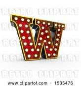 Clip Art of Retro 3d Illuminated Theater Styled Letter W, on a White Background by Stockillustrations