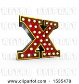 Clip Art of Retro 3d Illuminated Theater Styled Letter X, on a White Background by Stockillustrations