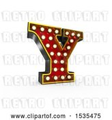 Clip Art of Retro 3d Illuminated Theater Styled Letter Y, on a White Background by Stockillustrations