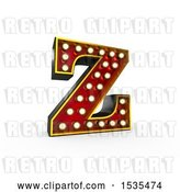 Clip Art of Retro 3d Illuminated Theater Styled Letter Z, on a White Background by Stockillustrations