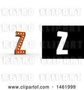 Clip Art of Retro 3d Illuminated Theater Styled Letter Z, with Alpha Map for Isolation by Stockillustrations
