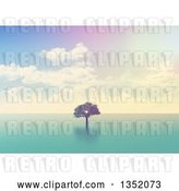 Clip Art of Retro 3d Lone Tree out in the Ocean, with Effect by KJ Pargeter