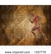 Clip Art of Retro 3d Medical Anatomical Guy with Visible Muscles, Running over a DNA Background by KJ Pargeter