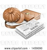Clip Art of Retro 3d Newspaper with a Hat and Briefcase, on a White Background by Texelart