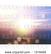 Clip Art of Retro 3d Ocean Sunset Landscape with Purple Skies and Flares by KJ Pargeter