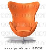 Clip Art of Retro 3d Orange Egg Chair 2 by Ralf61