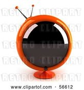 Clip Art of Retro 3d Orange Round Television - Version 1 by Julos