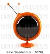 Clip Art of Retro 3d Orange Round Television - Version 2 by Julos