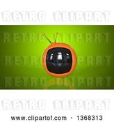 Clip Art of Retro 3d Orange Tv on a Green Background by Julos