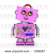Clip Art of Retro 3d Pink Female Robot Looking up to the Right, on a White Background by Stockillustrations