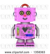 Clip Art of Retro 3d Pink Female Robot Smiling, on a White Background by Stockillustrations