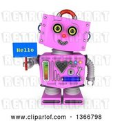Clip Art of Retro 3d Pink Female Robot Smiling, Tilting Her Head to the Side and Holding a Hello Sign, on a White Background by Stockillustrations