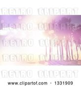 Clip Art of Retro 3d Pink Flare Sunset over a Tropical Island with Palm Trees by KJ Pargeter
