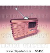 Clip Art of Retro 3d Pink Metal Radio - Version 3 by Julos