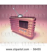 Clip Art of Retro 3d Pink Metal Radio - Version 4 by Julos