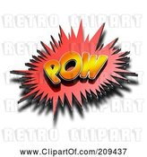 Clip Art of Retro 3d POW Comic Cloud with a Shadow by Stockillustrations