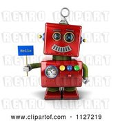Clip Art of Retro 3d Red Metal Robot Holding a Hello Sign by Stockillustrations