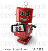 Clip Art of Retro 3d Red Robot Holding a Thumb up and a Smart Phone with a Picture on the Screen by Stockillustrations