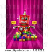 Clip Art of Retro 3d Red Robot Holding Happy Bday Signs over Gift Boxes on Pink Stripes by Stockillustrations