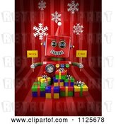 Clip Art of Retro 3d Red Robot Holding Merry X Mas Signs over Gift Boxes on Red with Snowflakes by Stockillustrations