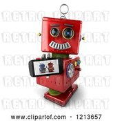 Clip Art of Retro 3d Red Robot Holding up a Smart Phone with a Picture on the Screen by Stockillustrations