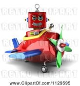 Clip Art of Retro 3d Red Robot Waving and Sitting in a Plane by Stockillustrations
