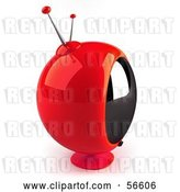 Clip Art of Retro 3d Red Round Television by Julos