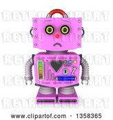 Clip Art of Retro 3d Sad Pink Female Robot Pouting, on a White Background by Stockillustrations