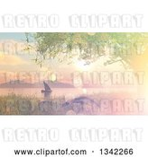 Clip Art of Retro 3d Sailboat at Sunset on a Lake or River with Flare Effect by KJ Pargeter