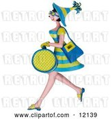 Clip Art of Retro 3d Shopping Lady Carrying Bags by Amy Vangsgard