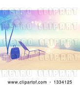 Clip Art of Retro 3d Style Tropical Island Beach with White Sand, a Sun Lounger Chair, Luggage, Palm Trees and Sky Flares by KJ Pargeter