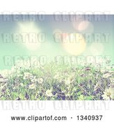 Clip Art of Retro 3d Sunny Spring Background with Blue Sky, Daisies and Grass with Effect by KJ Pargeter