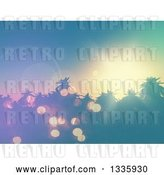 Clip Art of Retro 3d Sunset and Flares over Silhouetetd Tropical Palm Trees by KJ Pargeter