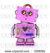 Clip Art of Retro 3d Surprised Pink Female Robot Looking up to the Left, on a White Background by Stockillustrations