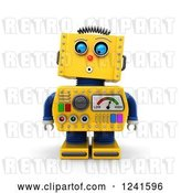 Clip Art of Retro 3d Surprised Yellow Robot Looking down by Stockillustrations