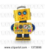 Clip Art of Retro 3d Surprised Yellow Robot Looking Innocent, on a White Background by Stockillustrations