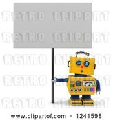 Clip Art of Retro 3d Surprised Yellow Robot Looking up and Holding a Sign by Stockillustrations