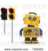 Clip Art of Retro 3d Surprised Yellow Robot Looking up at Red Pedestrian Traffic Lights, on a White Background by Stockillustrations