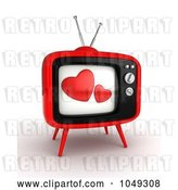 Clip Art of Retro 3d Television with Hearts on the Screen by BNP Design Studio