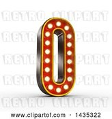 Clip Art of Retro 3d Theater Light Bulb Styled Number 0, on a White Background, with Clipping Path by Stockillustrations