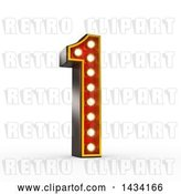 Clip Art of Retro 3d Theater Light Bulb Styled Number 1, on a White Background, with a Clipping Path by Stockillustrations
