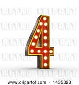 Clip Art of Retro 3d Theater Light Bulb Styled Number 4, on a White Background, with Clipping Path by Stockillustrations