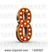 Clip Art of Retro 3d Theater Light Bulb Styled Number 8, on a White Background, with Clipping Path by Stockillustrations