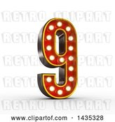 Clip Art of Retro 3d Theater Light Bulb Styled Number 9, on a White Background, with Clipping Path by Stockillustrations