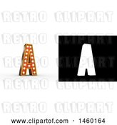 Clip Art of Retro 3D Theater Styled Letter a Design with Light Bulbs Illuminating It by Stockillustrations