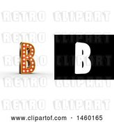 Clip Art of Retro 3D Theater Styled Letter B Design with Light Bulbs Illuminating It by Stockillustrations