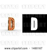 Clip Art of Retro 3D Theater Styled Letter D Design with Light Bulbs Illuminating It by Stockillustrations