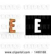 Clip Art of Retro 3D Theater Styled Letter E Design with Light Bulbs Illuminating It by Stockillustrations