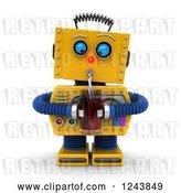 Clip Art of Retro 3d Thirsty Yellow Robot Drinking with a Straw by Stockillustrations