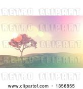 Clip Art of Retro 3d Tree on a Grassy Hill, with Flares by KJ Pargeter